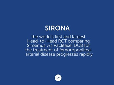SIRONA - The world's first and largest Head-to-Head RCT comparing Sirolimus V/S Paclitaxel DCB for the treatment of femoropopliteal arterial disease progresses rapidly.