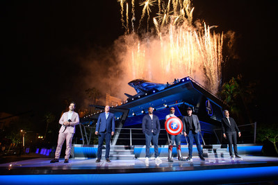 """Super Heroes assembled to celebrate the momentous dedication of Avengers Campus June 2, 2021, in an epic ceremony at Disney California Adventure Park in Anaheim, California. Disney CEO Bob Chapek was joined in front of Avengers Headquarters near the shining Quinjet by Disney Parks, Experiences and Products Chairman Josh D'Amaro and Marvel Studios President/Marvel Chief Creative Officer Kevin Feige, along with Paul Rudd, star of the """"Ant-Man"""" films, and Anthony Mackie from the hit Disney+ series """"The Falcon and the Winter Soldier."""" Teaming up with Iron Man, Spider-Man, Captain America, Captain Marvel, Black Panther and more, they together unveiled the new land, which opens to the public at the Disneyland Resort on June 4, 2021. (Richard Harbaugh/Disneyland Resort)"""