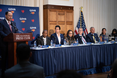 Goya Foods hosted a press conference at the National Press Club in Washington D.C., to announce the company's pledge of $2 million to combat child trafficking and to launch Goya Cares. Speakers included Bob Unanue, President | CEO of Goya Foods; Dr. Ben Carson, Founder | Chairman of The American Cornerstone Institute; Eduardo Verástegui, Producer of Sound of Freedom; Jennifer Hohman, Founder #FightForUs; Bob Cunningham, CEO | International Centre for Missing & Exploited Children; Antonio Fernandez, President | CEO of Catholic Charities, Archdiocese of San Antonio; | Ally Brito, The Eric Chase Foundation; and Kathy Givens, Survivor Overcomer, Twelve11 Partners.